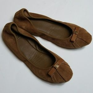 Tory Burch Brown Suede Bow Ballet Flats Size 9.5